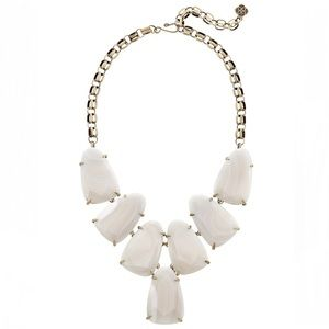 KS Harlow statement necklace in white banded agate